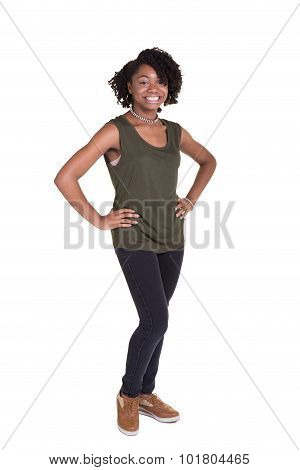 Portrait of a teenage girl isolated on white