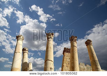 Roman Columns in the Jordanian city of Jerash (Gerasa of Antiquity)