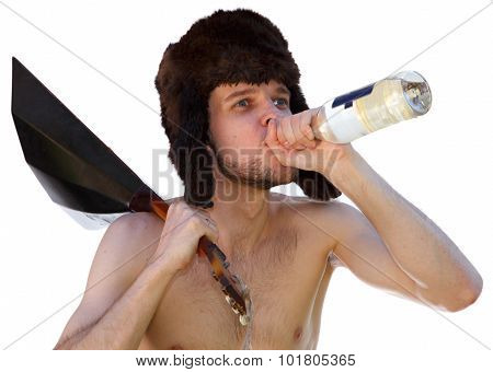 Russian Man In Fur Hat With Balalaika Drinks Vodka From Bottle