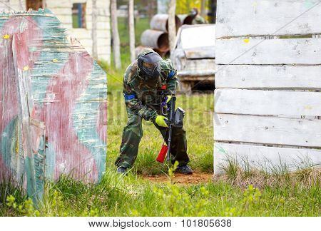 Soldier With Paintball Gun On Tactical Military Training