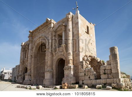Arch Of Hadrian In Jerash, Jordan-- Was Built To Honor The Visit Of Emperor Hadrian To Jerash In 129