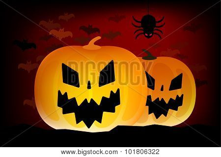 Two vector helloween pumpkins head isolated on white background