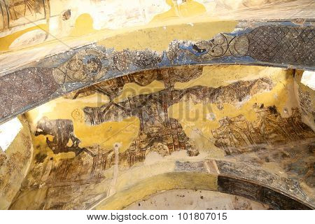 Fresco At Quseir (qasr) Amra Desert Castle Near Amman, Jordan. World Heritage With Famous Fresco's.