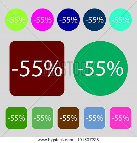 55 Percent Discount Sign Icon. Sale Symbol. Special Offer Label. 12 Colored Buttons. Flat Design. Ve