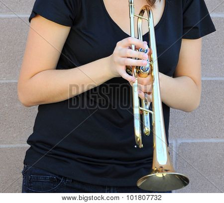 Female jazz trumpet player.