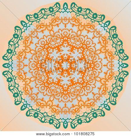 Ornate mandala design yoga karma yantra banner vector
