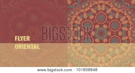 Flayer cover template design. Abstract Retro Ornate Mandala Background for greeting card, Brochure,