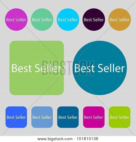 Best Seller Sign Icon. Best-seller Award Symbol. 12 Colored Buttons. Flat Design. Vector