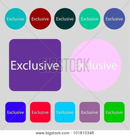 Exclusive Sign Icon. Special Offer Symbol. 12 Colored Buttons. Flat Design. Vector