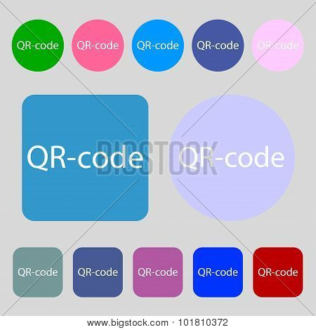 Qr-code Sign Icon. Scan Code Symbol. 12 Colored Buttons. Flat Design. Vector