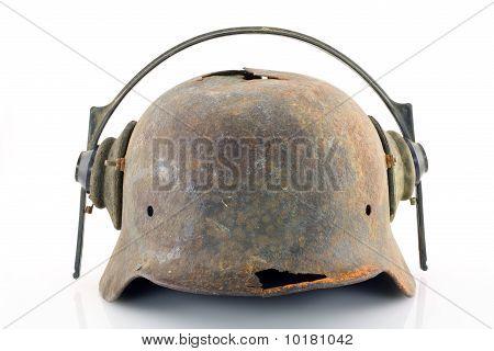Rusty Protective Helmet With Headphones