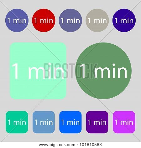 One Minutes Sign Icon. 12 Colored Buttons. Flat Design. Vector