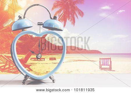 retro clock on tropical white sand beach