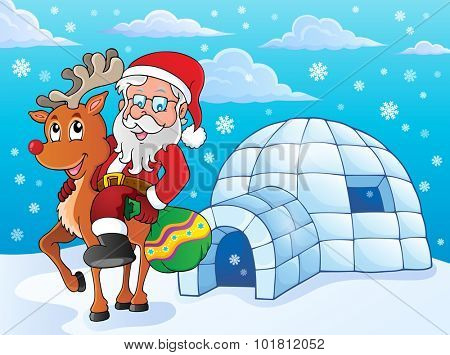 Igloo with Santa Claus theme 2 - eps10 vector illustration.
