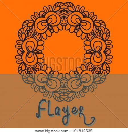 Oriental Flayer template design orange color. Abstract Retro Ornate Mandala Background for greeting