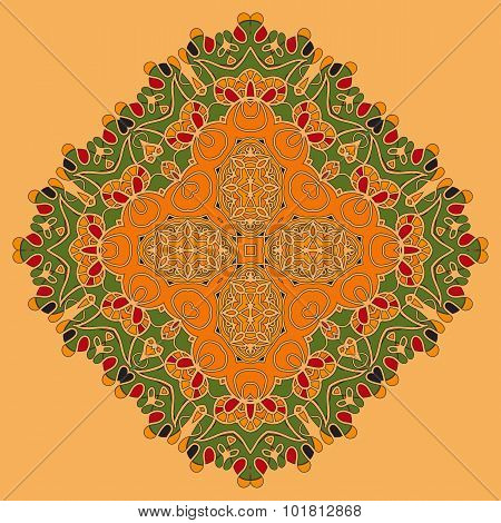 Green and Orange Oriental Mandala. Abstract Retro Ornate Mandala Wallpaper for greeting card, Brochu