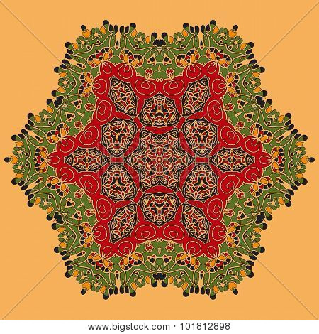 Yoga. Green and Red Oriental Mandala. Abstract Retro Ornate Mandala Wallpaper for greeting card, Bro