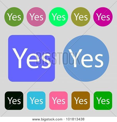 Yes Sign Icon. Positive Check Symbol. 12 Colored Buttons. Flat Design. Vector
