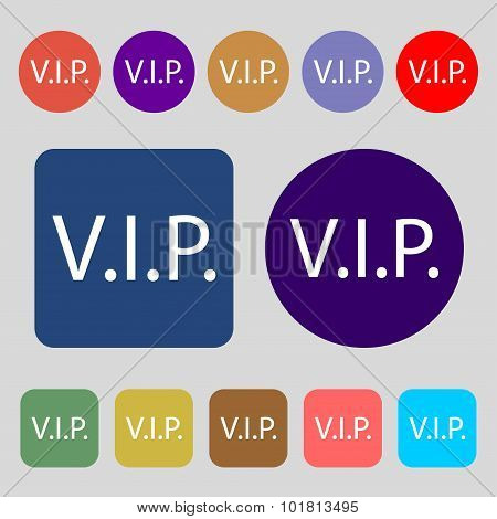 Vip Sign Icon. Membership Symbol. Very Important Person. 12 Colored Buttons. Flat Design. Vector