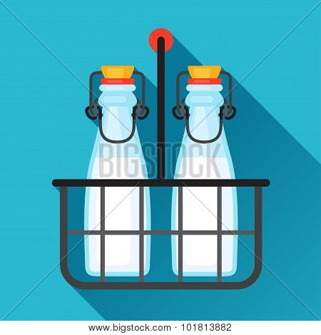Illustration milk bottles and wire carrier in flat design style
