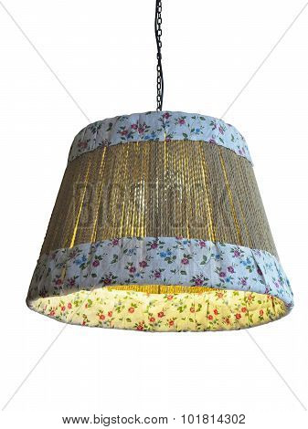 Bamboo And Cloth Lampshade Isolated Over White