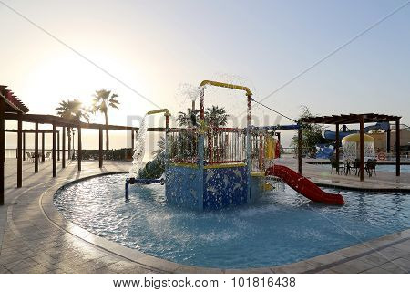 Children's Swimming Pool With Slides For Entertainment,  Resort On The Dead Sea, Jordan