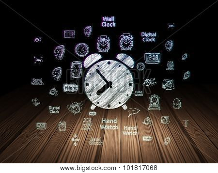 Time concept: Alarm Clock in grunge dark room