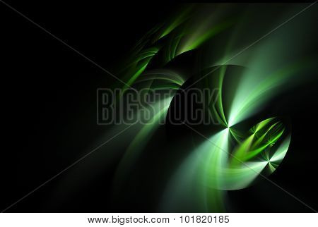 Abstract Fractal Spheres With Green Whirls Over Black Background
