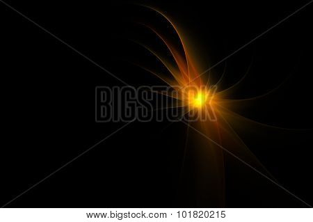 Abstract Segmented Fractal Shape Over Black Background