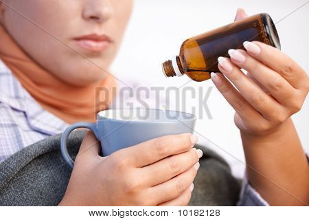 Young Woman Feeling Bad Taking Vitamin