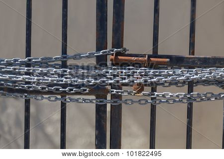 A Chain On A Gate Preventing Access