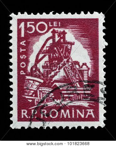 ROMANIA - CIRCA 1960: a stamp printed in Romania shows Blast furnace from the series Daily life, circa 1960.