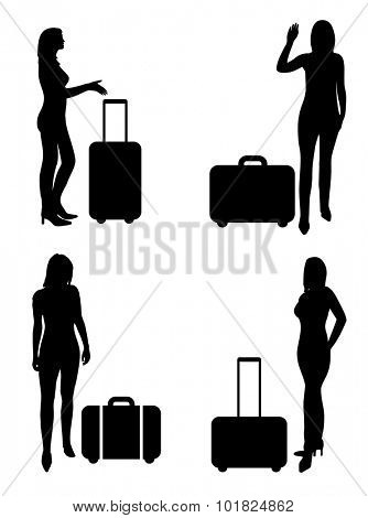 People on airport, woman with suitcase - vector silhouettes