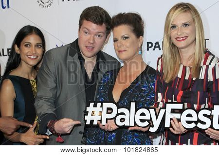 LOS ANGELES - SEP 12:  Melanie Chandra, Henry M Ford, Marcia Gay Harden, Bonnie Somerville at the Fall Preview - Code Black at the Paley Center For Media on September 12, 2015 in Beverly Hills, CA
