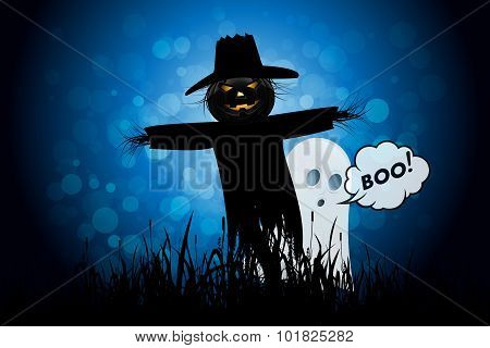 Halloween Background with Ghost and Scarecrow