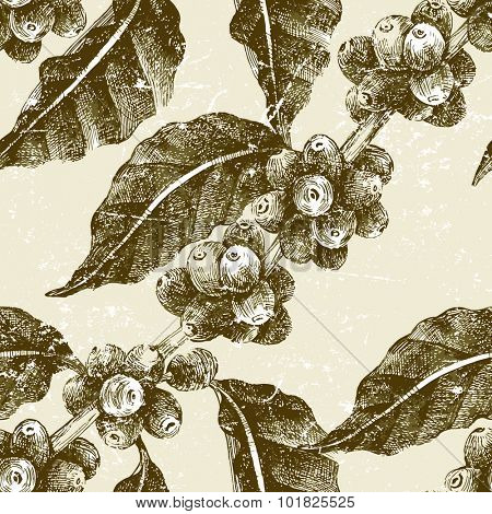 hand drawn seamless pattern with coffee in vintage style