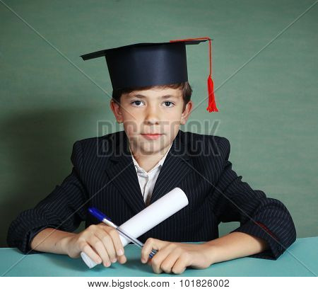 Boy In Graduation Cap Close Up Portrait Isolated