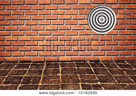 Dart games board Goal On Brickwall Pattern