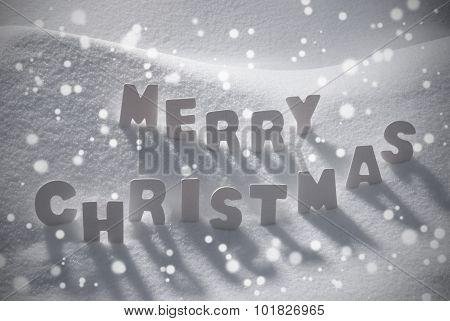 White Text Merry Christmas On Snow, Snowflakes