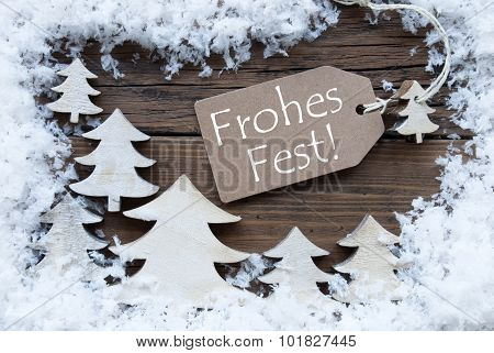 Label Trees Snow Frohes Fest Means Merry Christmas