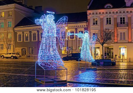 Christmas Advent Night At The Town Hall Square Of Vilnius