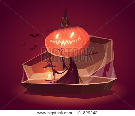 Halloween card, background, poster. Vector illustration.