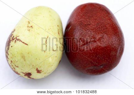 Jujube Fruits Closeup,isolated On White Background