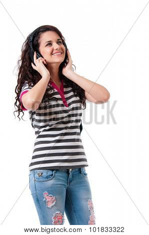 Beautiful girl with headphones, isolated on white background