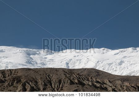 Snow Mountain Landscape With Blue Sky