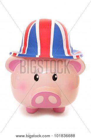 Piggy Bank Wearing Union Jack Hat
