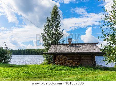 Banya, a Russian log bath house
