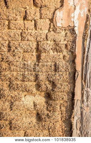 Mud And Straw Brick Wall In Papendorp