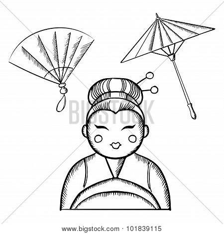 Geisha in kimono with fan and paper umbrella