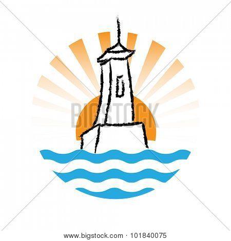 Vector Lighthouse logo on white background